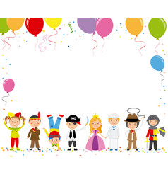 Children disguised for a party vector
