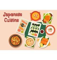 Japanese cuisine icon for seafood menu design vector image vector image