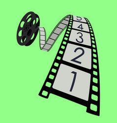 movie roll film strip green background vector image