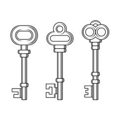 Old Vintage Keys Set on White Background vector image