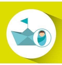 boy newborn wrap paper ship design vector image vector image