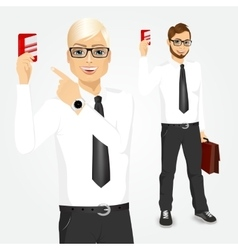 businessman pointing at a credit card vector image vector image