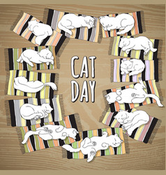 cat day card cat on a striped mat vector image