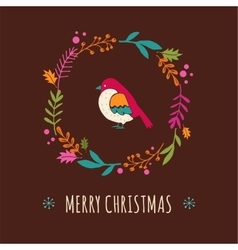 Christmas tree with bird Greeting card vector image vector image