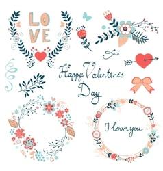 Happy Valentines day elegant graphic elements vector image
