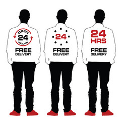 man silhouette set with 24 free delivery on back vector image vector image
