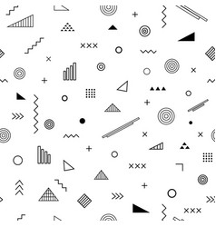 seamless pattern with memphis style vector image vector image