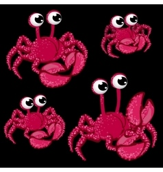Set pink crabs with big eyes on black background vector