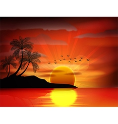 Sunset background on beach vector
