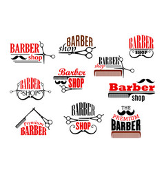 barber shop beards and mustaches icons vector image