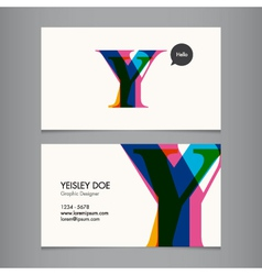 Business card template letter Y vector image vector image