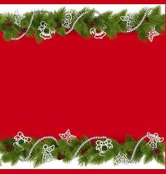 Christmas Border with Beads vector image