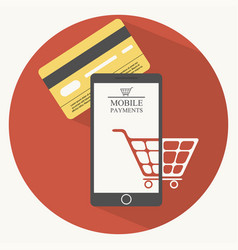 mobile payments in flat style vector image vector image