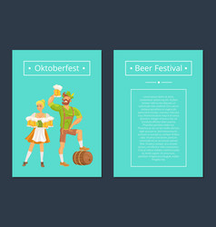 oktoberfest set of posters with man and woman vector image