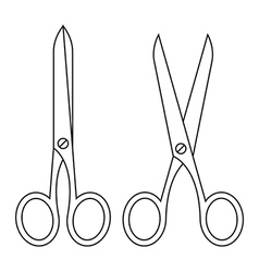 Open and closed scissors vector image vector image