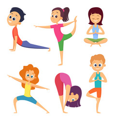 yoga for kids happy childrens make different vector image