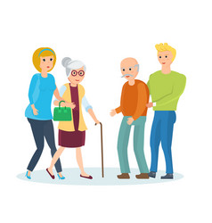 young people with their relatives walk help them vector image vector image