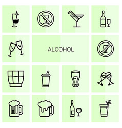 14 alcohol icons vector