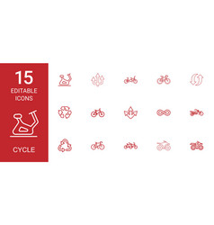 15 cycle icons vector