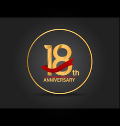 18 anniversary design golden color with ring vector