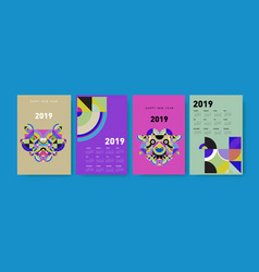 2021 calendar design template with colorful vector