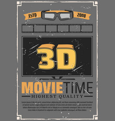 3d effect tv glasses and cinema film vector image