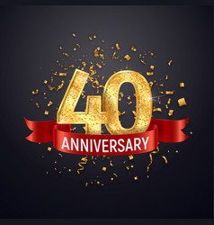 40 years anniversary logo template on dark vector image
