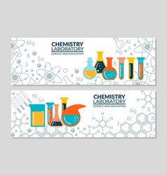 A set of scientific laboratory research banners vector