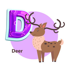 Abc flashcard with deer for d letter presentation vector