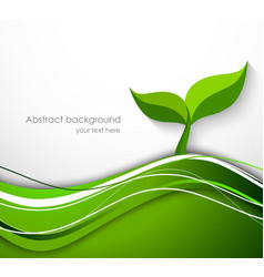 Abstract background in green color with plant vector