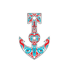 Anchor totem pole northwest coast art vector
