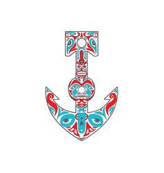 Anchor totem pole northwest coast art vector