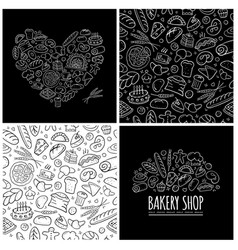 bakery set logo and pattern for your design vector image