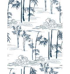 Bamboo japanese pattern seamless clouds vector