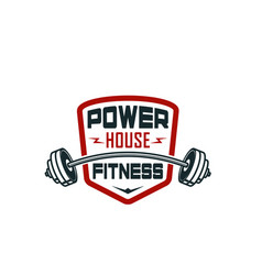 Barbell gym fitness bodybuilding club icon vector