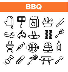 bbq equipment tools linear icons set vector image