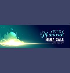 beautiful glowing mosque eid mubarak banner vector image