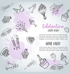 Birthday party doodle background card vector