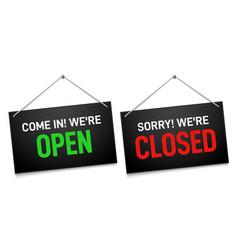 black open and closed sign dark shop door vector image