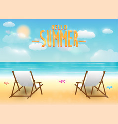 bright summer sea beach with a relax chair vector image