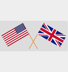 British and united states america flags vector
