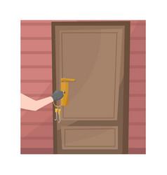 Burglar and door logo set vector