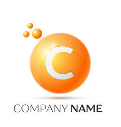 c letter splash orange dots and circle bubble vector image