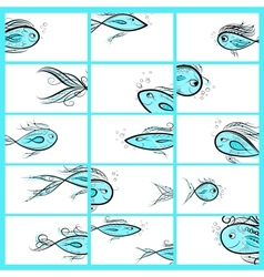Cards template with fishes sketch vector image
