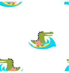 cartoon crocodile pattern vector image
