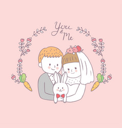 Cartoon cute bride hug groom and rabbit vector