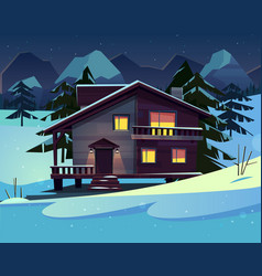 cartoon luxury hotel chalet at night vector image