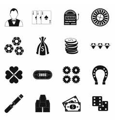 Casino simple icons vector