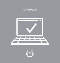check computer - flat minimal icon vector image