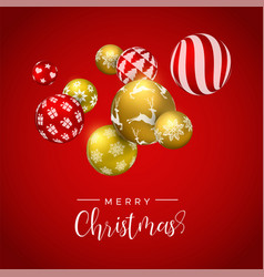 christmas gold bauble ornament greeting card vector image